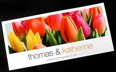 Mixed Tulips Invitation - This wedding invitation features an image of some beautiful tulips in a variety of colours.