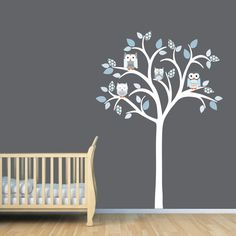 Owl tree decal, Owl tree wall sticker, Owl Nursery Art, owl wall decal, nursery owl decor, Shades of Blue Design by StickItDecalDesigns on Etsy