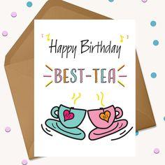 Diy Birthday Cards For Best Friend, Birthday Card Puns, Happy Birthday Cards Handmade, Happy Birthday Best Friend, Best Friend Cards, Birthday Card Drawing, Simple Birthday Cards, Happy Birthday Gifts, Birthday Greeting Cards
