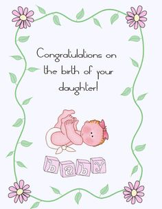 congrats on the birth of your baby daughter newborn congratulations congratulations images - New Born Baby Card