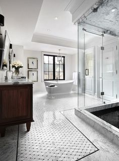 All White Transitional Bathroom - 10 Stunning Transitional Bathroom Design Ideas to Inspire You ➤To see more Luxury Bathroom ideas visit us at www.luxurybathrooms.eu #luxurybathrooms #homedecorideas #bathroomideas @BathroomsLuxury