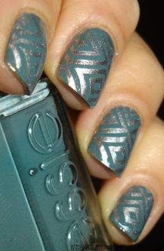 "Stamped Nails   (Base coat: Essie ""School of Hard Rocks"" and Stamp color: Essie ""No Place Like Chrome"""