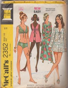 0f0ab57036 1970s McCalls 2352 Misses Two Piece Bathing Suit Beach Dress and Cover Up  Pattern EASY Womens Vintage Sewing Pattern Size 12 Bust 34