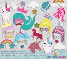 Unicorn Party Photo Booth Props Pony Megical by IraJoJoBowtique