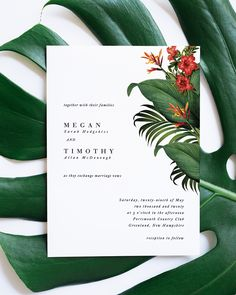 Minimalist Tropical Wedding Invitation with banana leaf backer and monogram layout, designed by Citrus Press Co. Tropical Wedding Invitation, Beach Wedding Invite, Hawaiian Wedding Invite, Destination Wedding Invitation, Boho Wedding, Vintage Tropical Invitation