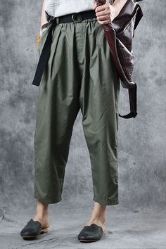 Fabric: Fabric has no stretchSeason: Summer Pant Type: Harem pants Waist Type: NaturalLength: Ankle lengthColor: GreenStyle: CasualMaterial: Cotton Size: cm cm Bright Pants, Light Blue Pants, Maxi Outfits, Casual Outfits, Casual Pants, Best Work Pants, Type Of Pants, Pants For Women, Clothes For Women