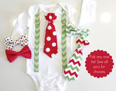 Baby Boy Christmas Outfit. Chevron Tie and by CuddleSleepDream
