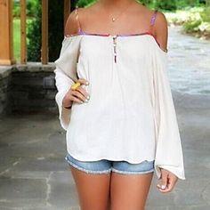 Camiseta (Misturas de algodão) Sensual - Média - Longas – BRL R$ 34,17
