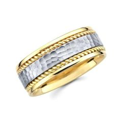 14K Yellow and White 2 Two Tone Gold 6mm Rope Hammered Designer Wedding Band GoldenMine. $376.95