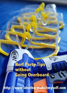 DIY Nerf Party Tips without going Overboard. Budget party with Nerf guns. Colors are Blue and Orange, perfect for a Boy's Birthday Party. http://www.MidMichiganMom.com
