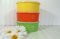 Vintage TupperWare Colorful Canister Set  Retro by DivineOrders, $19.00