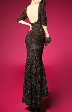Black Backless O-neck Half Sleeves Fishtail Maxi Party Dress