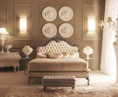 Holy amazing. Love the wallcolor, picure trim and chair rail, headboard, all white details and candelabra
