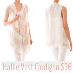 This gorgeous Vest Cardigan needs to be a part of your wardrobe!  One size.  $36  Follow us on IG: ShopHelloDarling