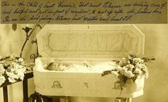 Memento mori. Hand written caption reads: This is the child of aunt Wanda's, that aunt Eleanor was taking care of and bathed and put in front of window to cool off after she bathed her. This was the hard feelings between aunt Martha and aunt El.