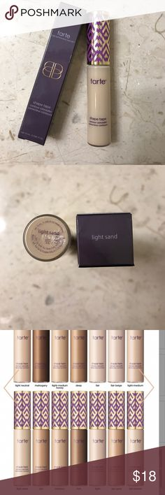 Tarte Shape Tape Concealer Tarte Shape Concealer in Light Sand. Light skin with yellow undertones. Used once and the shade is a little too light for me. Purchased on the Tarte website. I will also include some extra beauty samples too :) No trades/pay pal. tarte Makeup Concealer
