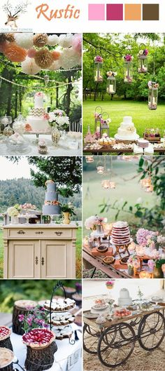 rutic chic country wedding desset table ideas