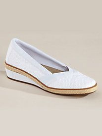 Classic wedge design in a variety of fabric uppers with an elastic inset at the V-throat - Misty Style Espadrilles by Grasshoppers® from Old Pueblo Traders