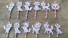 Marie Aristocats cupcake toppers Birthday by SilviasPartyDecor