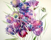 Blue Violet Scabiosa Painting, flowers painting, 20 x 15 in, original watercolor, garden flowers art Painting Flowers, Flower Art, Watercolor, The Originals, Garden, Summer, Plants, Blue, Etsy