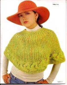Capas fresquitas y ponchos Crochet Shrug Pattern, Crochet Poncho, Knitted Shawls, Crochet Yarn, Sweater Hat, Crop Top Sweater, Knitted Cape, Crochet Videos, Wool Dress
