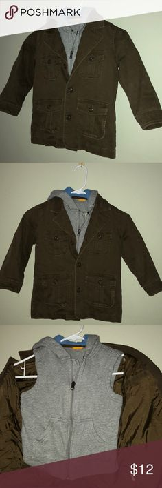 Baby Gap 2-in-one boys jacket Baby Gap Boys Jacket with detachable hooded vest. Vest is grey fleece  Jacket is brown. Vest attaches to the jacket with snaps under the arms and one at the back of the neck. Baby Gap Jackets & Coats