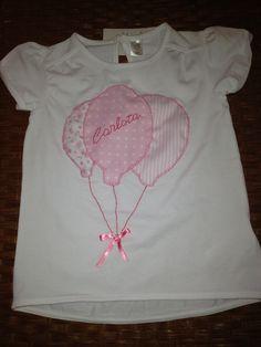 Camiseta Niña globos con lazo personalizada. Pvp 20€
