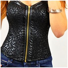 Black Leather Trimmed Corset 75% Cotton 20% Polyester 5% Spandex hand Wash in Cold Water & Hang Dry Tops