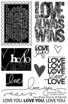 Love Always Wins by Ali Edwards  $14.99    11 Clear Stamps on a 4x6 storage sheet