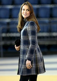 Catherine Countess of Strathearn (as she is styled in Scotland), aka Duchess of Cambridge, aka Kate Middleton, wearing a tartan coat by Moloh and Aquatalia Rhumba boots, visiting Glasgow, Scotland, 4/04/13.