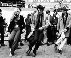 August 1972: A group of teddy boys dancing at the London rock 'n' roll revival show in Wembley Arena.