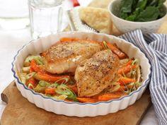Kyllingfilet med gratinerte rotgrønnsaker | Oppskrift - MatPrat Food Humor, Fajitas, Ratatouille, Salmon Burgers, Baked Goods, Food Porn, Pork, Turkey, Meat