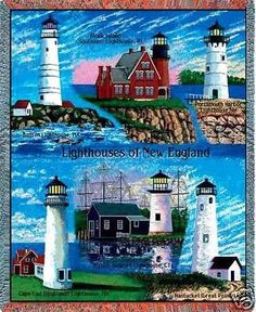 """New England Lighthouses Throw"" This colorful cotton throw, woven on Jacquard looms, depicts famous landmark #lighthouses of the U.S. #New #England states. This makes a wonderful gift for the lighthouse   -   http://dennisharper.lnf.com/"
