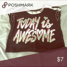 """Justice """"Today is Awesome"""" Black, pink, white and silver """"Today is Awesome"""" top with tie dye cap sleeves.  Wear with white, pink or black tank underneath for cute layered look. Justice Shirts & Tops Tees - Short Sleeve"""