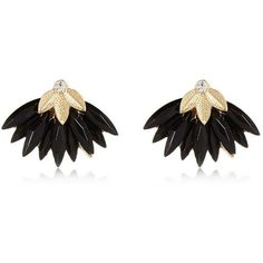 River Island Black layered leaf stud earrings ($12) ❤ liked on Polyvore