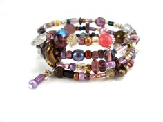 Perfectly Purple Memory Wire Bracelet by AllTwisted on Etsy, $17.00