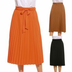 Material: 97% Polyester, 3% Spandex Color: Orange, Dark Khaki, Black Style: Skirt Length: Mid-Calf Length Pattern: Solid Clasp Type: None Waist Type: High Waist Decor: Pleated, Belt Design: Waist Elastic Band Occasion: Casual Unique style, create stunning curves, make you more beautiful, fashion, sexy and elegant. Size Waist Hip Length Hem S 65 cm 25.4 inch 92 cm 35.9 inch 75 cm 29.3 inch 132 cm 51.5 inch M 69 cm 26.9 inch 96 cm 37.4 inch 76 cm 29.6 inch 136 cm 53 inch L 73 cm 28.5 inch 100…