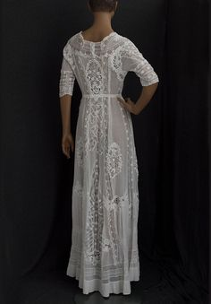 Lingerie-style dress embellished with Irish crochet, c.1905