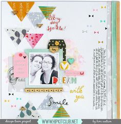 Designer @kjstarre has created this amazing LO inspired by the acetate patterned triangle from @pinkfreshstudio She used our #august2015 kits featuring @pinkfreshstudio @kjstarre stencils @cratepaper Wonder #prima #ranger #hipkitclub #hipkits #scrapbooking #scrapbookkits