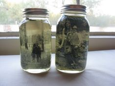 Place a black and white or sepia photograph inside an old jar (trim to fit). Fill jar with vegetable oil, completely covering photo. Add dried flowers and seal. Tie the jar with a ribbon (tag optional). Via {August and Everything After}