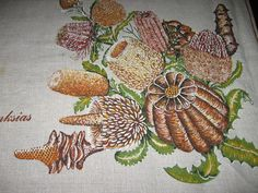 Australian Souvenir Tablecloth Banksias Plants by IdaSlappter