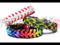 Rainbow Loom BASEBALL STITCH (double OVER and UNDER) Bracelet - Advanced. New looming technique. Designed and loomed by Liam at Justin's Toys. Click photo for YouTube tutorial. 07/08/14.