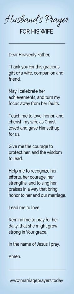 Husbands prayer for his wife More