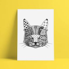Items similar to Cat Zentangle on Etsy White Art, Black And White, I Shop, My Etsy Shop, Colour Images, Adult Coloring, Cat Lovers, Dog Cat, How To Draw Hands