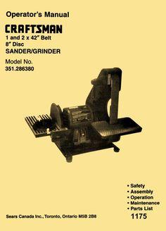 "Craftsman 351.286380 1"" & 2"" x 42"" Belt 8"" Disc Sander Operation & Parts Manual - http://ozarktoolmanuals.com/machinemanual/craftsman-351-286380-1-2-x-42-belt-8-disc-sander-operation-parts-manual/ #Craftsman"