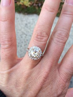 Champaign diamond with clear diamond halo and band. #imoffthemarket this ring