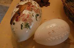 Antique hand blown milk glass Easter eggs. . .