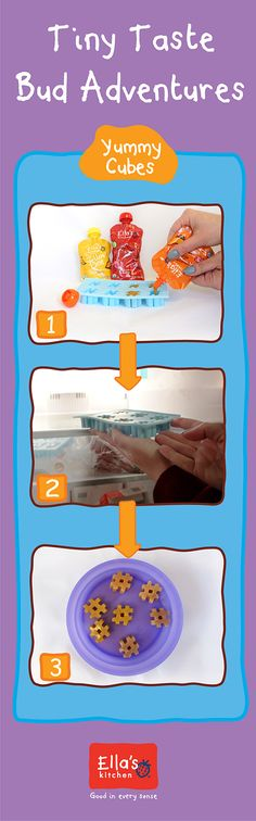 This Tiny Taste Bud Adventure is a super yummy activity for you and your little one to enjoy together! Try with Apples + Strawberries, The Yellow One, and Mangos Mangos Mangos!  Step 1) Gather rubber ice cube molds and Ella's Kitchen purees Step 2) Fill ice cube molds with Ella's Kitchen purees and freeze Step 3) Pop out and use as smoothie mixers or teething treats for tiny teeth!  For the extra little, put the treats in a mesh bag before giving it to them to suck on.