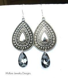 Tribal teardrop Silver pendant, Swarovski crystal, Sterling silver earrings. McKee Jewelry Designs