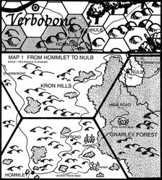 From Hommlet to Nulb and the Temple of Elemental Evil (AD&D module T1-4; based on hexes originally from the large World of Greyhawk map)…